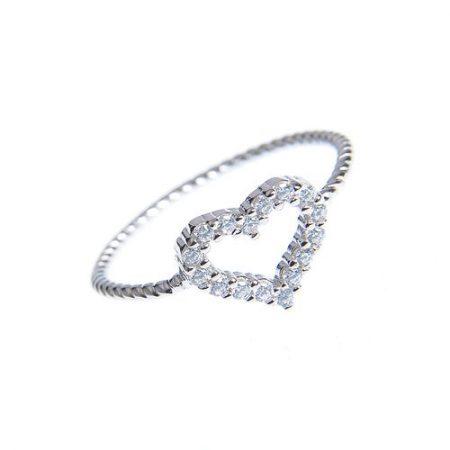 Inel argint cu contur inimioara