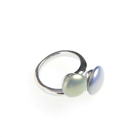 Inel argintiu perle multicolore