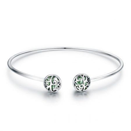 Bratara din argint cu sticla verde si Copacel
