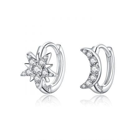 Cercei din argint Crystal Moon and Star