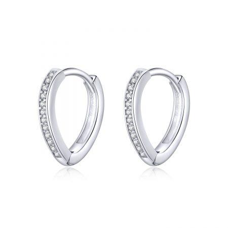 Cercei din argint Heart Ear Hoops