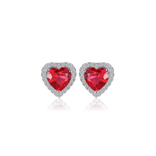 Cercei din argint Heart of the Ocean Ruby