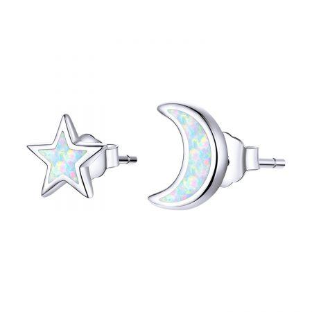 Cercei din argint Little Moon and Star Opal