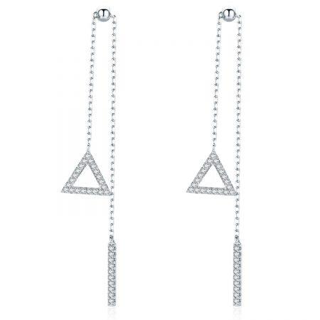 Cercei din argint Long Triangle Shape