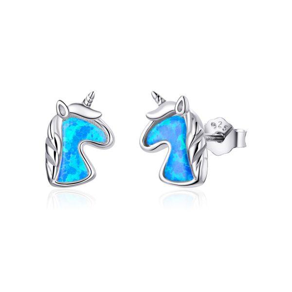 Cercei din argint Opal Blue Unicorns