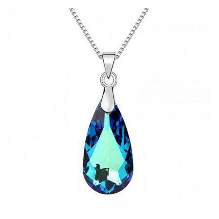 Colier din argint Bermuda Blue Drop cu Cristal Swarovski