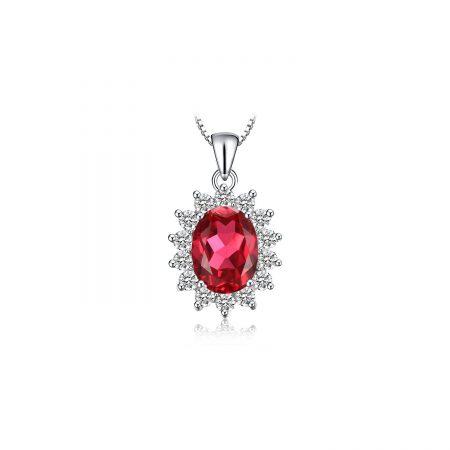 Colier din argint Elegant Ruby