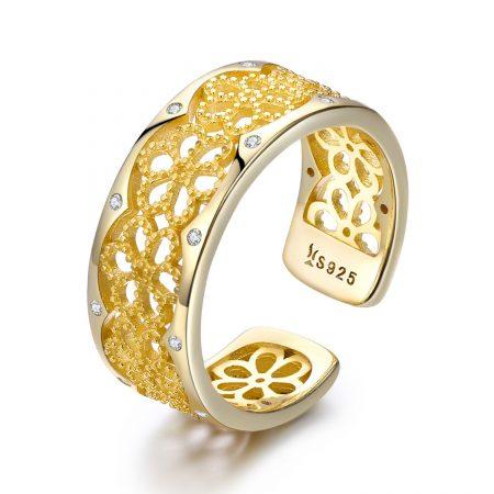 Inel din argint Golden Lace Ring