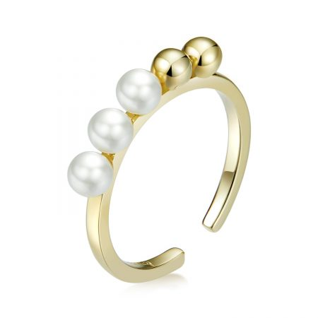 Inel din argint Golden Round Beads Ring