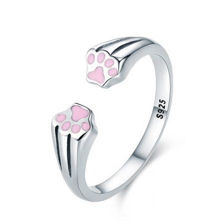 Inel din argint Pink Paws