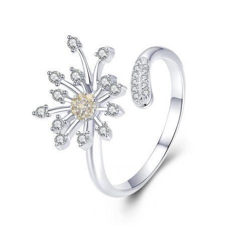 Inel din argint reglabil Blooming Flower