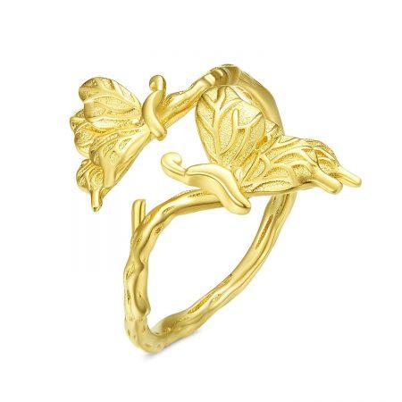 Inel din argint reglabil Golden Butterflies