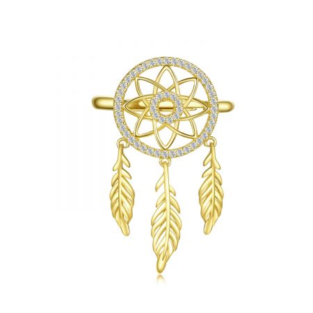 Inel din argint reglabil Golden Dream Catcher