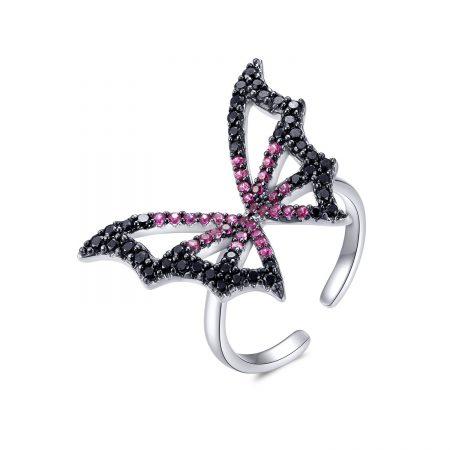 Inel din argint reglabil Pink Butterfly