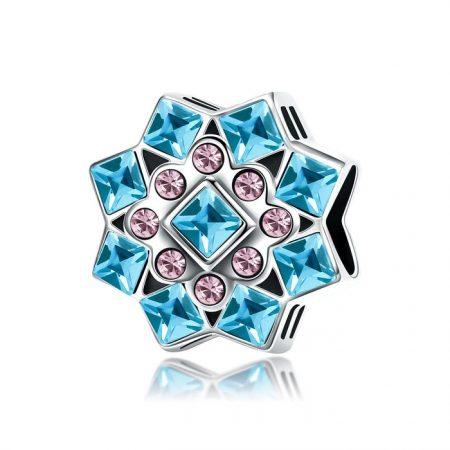 Talisman din argint Blue Snowflake