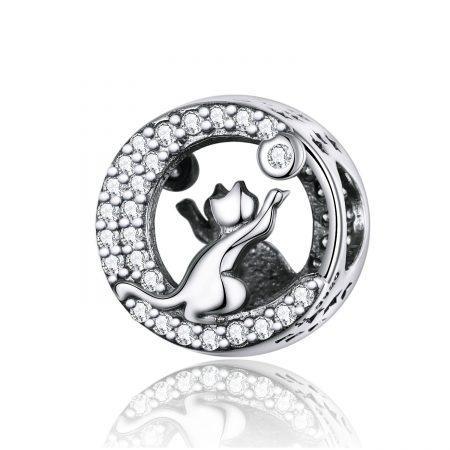 Talisman din argint Playful Silver Cat