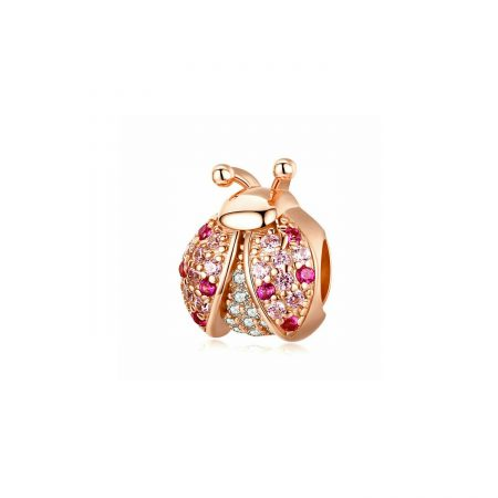 Talisman din argint Rose Gold Ladybug