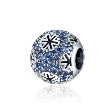 Talisman din argint Winter Blue Snowflake