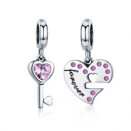 Talisman din argint cu Double Heart Key