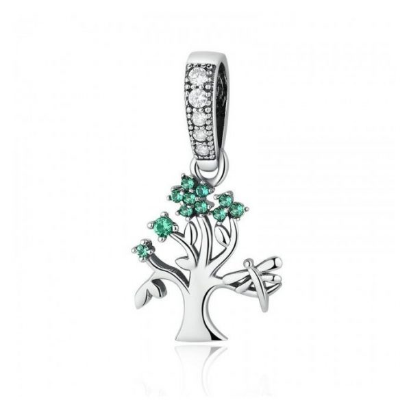 Talisman din argint sub forma de Pandantiv cu Copac si Cristale Verzi