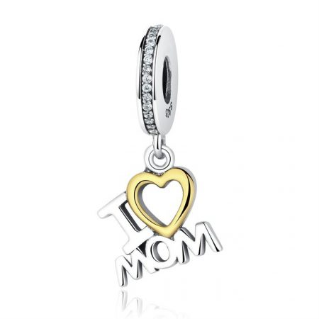 Talisman din argint sub forma de pandantiv I love Mom